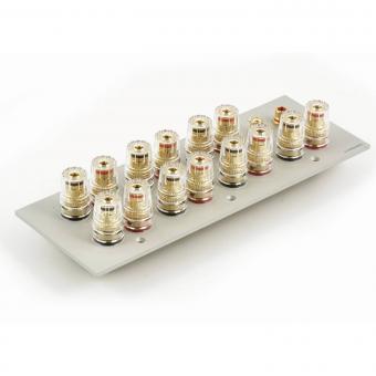 Lautsprecherblende 7.1 für 7 Lautsprecherpaare plus 2x Cinch, silber